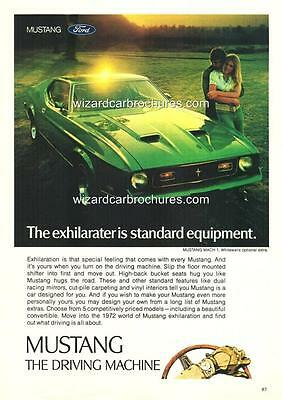 1972 Ford Mustang Mach One A3 Poster Ad Sales Brochure Advertisement Advert