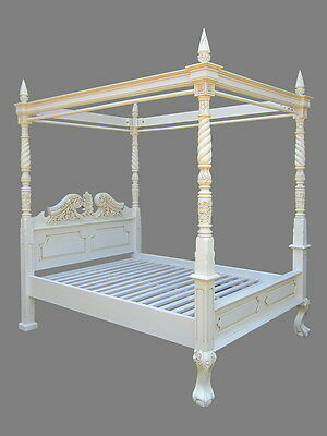 Antique Reproduction Four Poster Bed Queen Anne Style-Antique White Finish