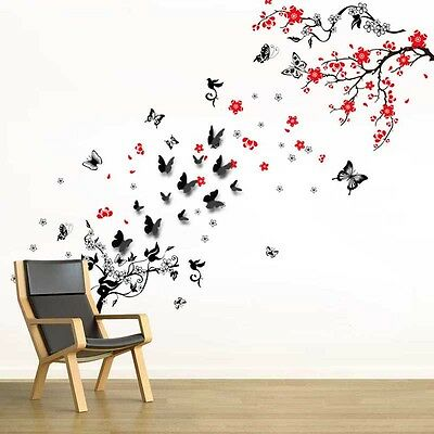 Wall Stickers Mural Decal Paper Art Decoration 3D Butterfly Blossom Flower Vine