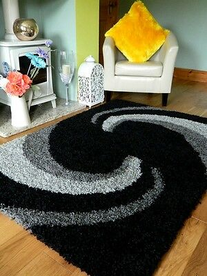 Small X Large Black Grey Silver Soft Chunky Thick Heavy Quality  Shaggy Rug Mat