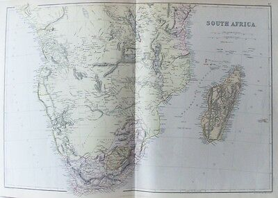 OLD ANTIQUE MAP SOUTH AFRICA MADAGASCAR c1880's by WELLER / BLACKIE 19th CENTURY