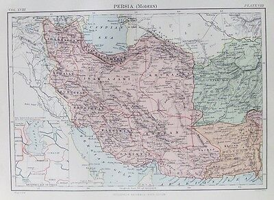 OLD ANTIQUE MAP PERSIA c1880's by JOHNSTON 19th CENTURY PRINTED COLOUR
