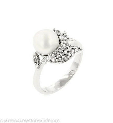 Fleur Faux Pearl Floral Engagement Wedding Ring White Gold Bond Sz 6 7 8 9 10