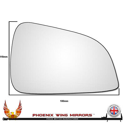 Right Hand Driver Side Vauxhall Astra H 2009-2011 Convex Wing Door Mirror Glass