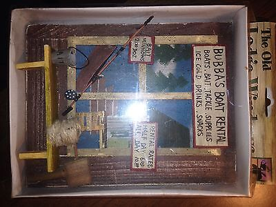 "THE OLD LODGE WINDOW wooden wall hanging ""BUBBAS BOAT RENTAL"" ""$6 half day rate"""