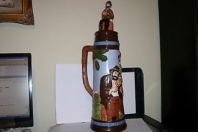 Huge Vintage Ceramic German Beer Stein with 3D Figurines over sized 22 inches