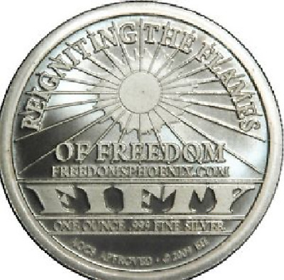 1oz .999 SILVER BULLION: Freedom's Phoenix $50 medallion AOCS APPROVED