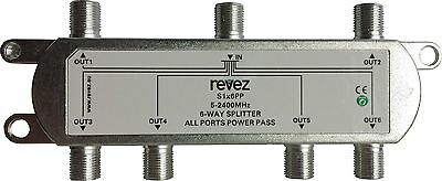 6 Way Cable TV Saorview Freeview Satellie Virgin Splitter 5-2400 Mhz Power Pass