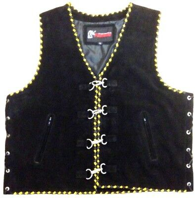 Suede Motorcycle Vest Leather Biker Waistcoat Yellow Hand Braided Motorbike Vest