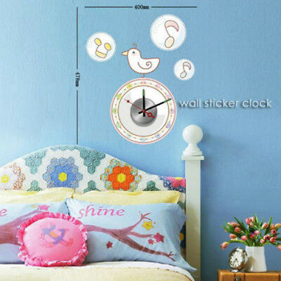 New Unique DIY Stick on the Wall Clock In Cute Singing Bird With Musical Notes