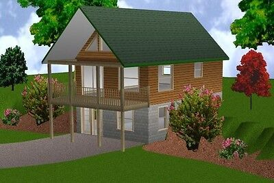 20x30 Cabin w/Loft Plans Package, Blueprints & Material List