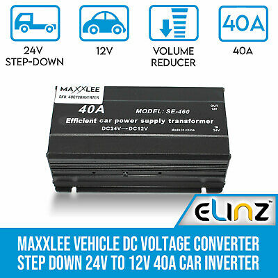 Vehicle DC Voltage Converter Step down 24V to 12V 40A Car Truck Caravan Inverter