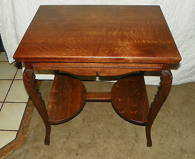 Solid Quartersawn Oak Carved Center Table / Parlor Table  (T374)