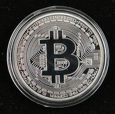 Physical Bitcoin SILVER-PLATED, Clear Plastic Case
