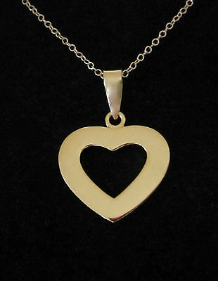 """22K Yellow Gold Plated 925 sterling silver HEART pendant and 16"""" Gold chain"""