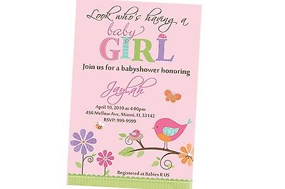 Tweet Girl Baby Shower Invitation 24hr Service UPRINT 4x6 or 5x7
