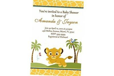 Lion King Baby Shower Invitation 24hr Service UPRINT 4x6 or 5x7