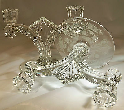 TIFFIN CHEROKEE ROSE CRYSTAL #5902 DOUBLE BRANCH PAIR of CANDLESTICKS!
