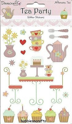 Dovecraft Glitter Stickers - Tea Party  Dcst003 - Cakes Cupcakes - Afternoon Tea