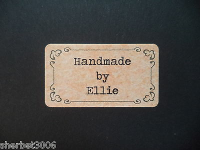 65 x Personalised Mini Stickers Vintage Frame Shabby Brown Kraft Effect Labels