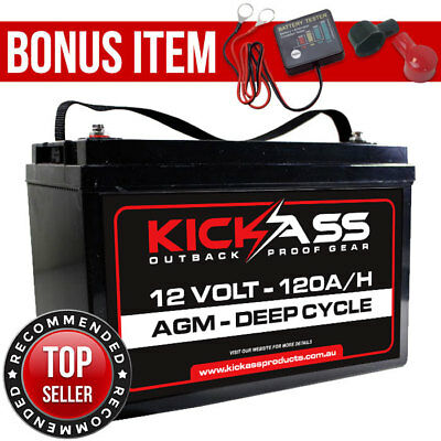 120AH AGM Deep Cycle KickAss Battery - Suit Portable 12V Fridge Solar 120 Amp
