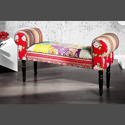 DESIGN PATCHWORK SEATING BENCH IBIZA | multicoloured, 100x55cm | cushioned bench
