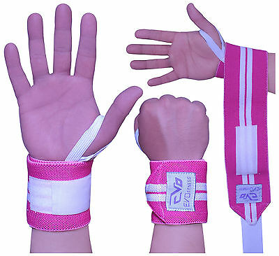 EVO Ladies Pink Weight lifting wrist Support Wrap Elasticated Gym Straps Bandage