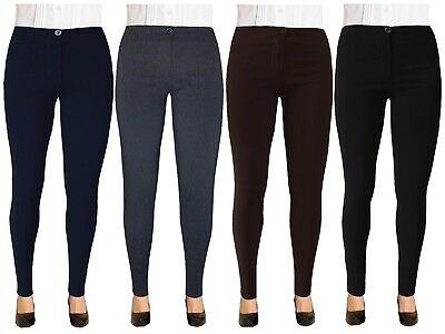 Girls Ladies Black, Navy Blue, Grey School Women Office Skinny Stretch Trousers
