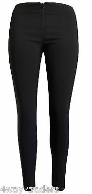 Girls skinny school trousers invisible zip Ladies Women office stretch black blu