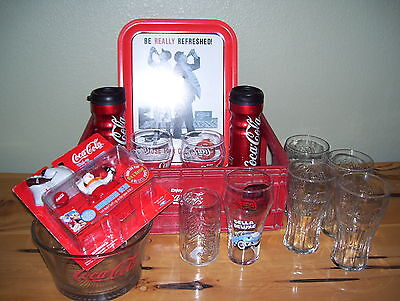 Lot of 14 Piece Coca Cola Glasses,Bowl,Trays,Wind Up Polar Bear Collection