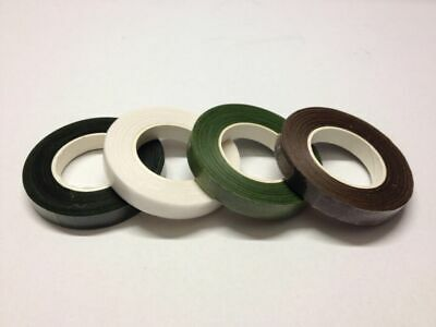 4 X Florist Stem Tape, Wire Floral Work, Button Holes, White, Green & Brown. X4