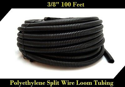 "100' Feet 3/8"" Black Split Loom Wire Flexible Tubing Wire Cover Audio Stereo"