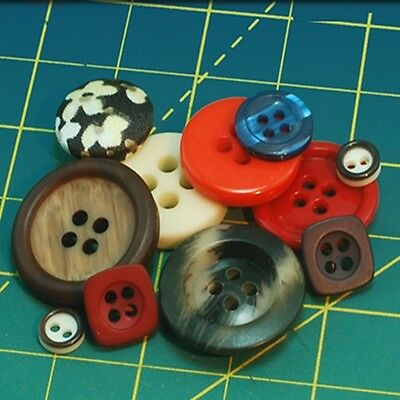 Mid-Century Vintage Buttons - plastic & cloth-covered; 4-hole & shank buttons