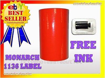 Fluorescent Red Label For Monarch 1136 Pricing Gun 1 Sleeve=8Rolls