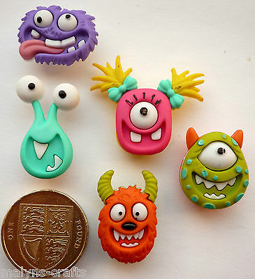 MAD FOR MONSTERS Craft Buttons Novelty Crazy Inc Children Fantasy Aliens Babies