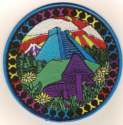 "Retro Patch  ""MAGIC MUSHROOMS & PYRAMID"",  embroidered emblem"