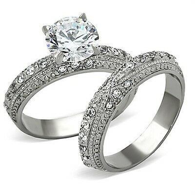 Antique Inspired 3.35 Ct Stainless Steel CZ Engagement Ring & Wedding Band 5-10