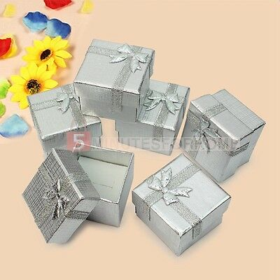 Lots 24Pcs Silver Jewellery Earring Ring Gift Square Bowknot Boxes Storage Case