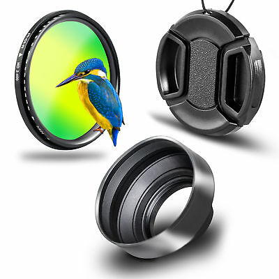 Phot-R 52mm Slim Variable ND Filter + Centre-Pinch Lens Cap + 3in1 Lens Hood Kit
