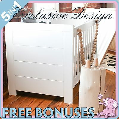 NEW 5 In 1 WHITE BABY COT + BASSINET + TODDLER BED + CHANGE TABLE + MATTRESS