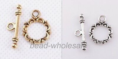 30sets Antique Silver/Golden Lacework Round Toggle Clasps For Craft Making