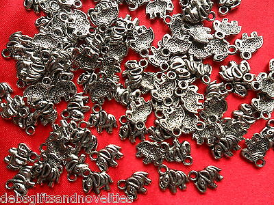Bulk Lot 10 Silver Plated Elephant Small Pendants Or Charms  Free Postage