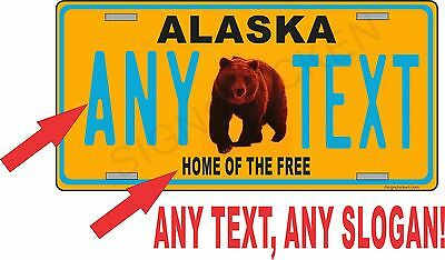 ALASKA LICENSE PLATE / ANY TEXT YOU WANT, state license plate, novelty, GRIZZLY