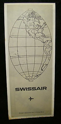 SwissAir Airlines Airplane Aviation Route Map 1969