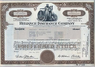 Reliance Insurance Company Stock Certificate Pennsylvania