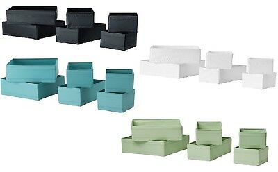 IKEA SKUBB set of 6 drawer organiser dividers boxes various colours NEW