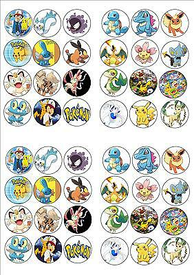 POKEMON EDIBLE WAFER RICE PAPER BIRTHDAY PARTY FAIRY CUPCAKE CAKE TOPPERS x 48