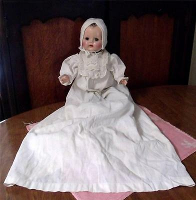 Rubber Doll VintageOlder Composition Head w Christening Gown & Bonnet Sweet Baby