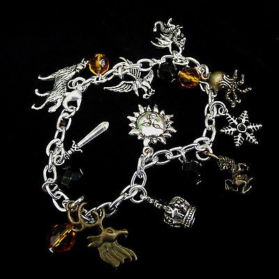 Game of Thrones Inspired Charm Bracelet, House Sigils Charms, Gift Box Option!