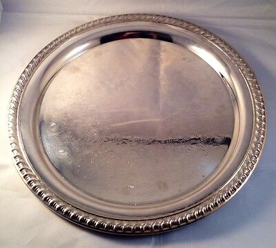 """Silverplate 10.30"""" dia. dish w/scrollwork & rope edging WM Rogers Silver Co."""